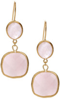 Rivka Friedman 18K Gold Clad Inverted Teardrop & Cushion Rose Quartz Dangle Earrings