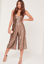 Missguided Sequin Culotte Romper Brown
