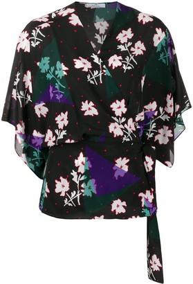 Paul Smith Floral Print Wrap Blouse