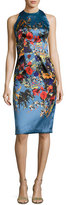 David Meister Sleeveless Floral Satin Cocktail Dress, Blue