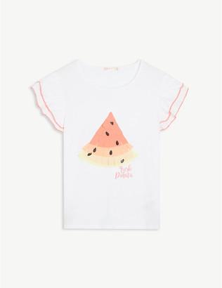 Billieblush Watermelon ruffled cotton-blend T-shirt 4-12 years