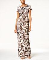 Adrianna Papell Metallic Floral Matelassé Column Gown