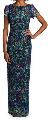 Marchesa Notte Peacock Embroidered Tulle Dress