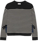 RED Valentino Tie-side Striped Cotton Sweater - Black