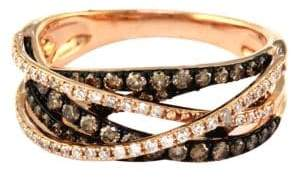 Effy 14Kt. Rose Gold Brown and White Diamond Crossover Ring