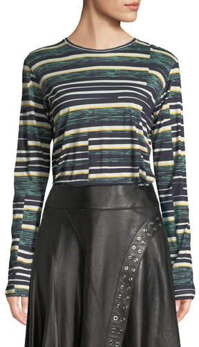 Derek Lam Crewneck Long-Sleeve Abstract Bold-Stripe Top