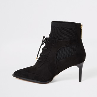 River Island Womens Black knitted lace-up heeled boots