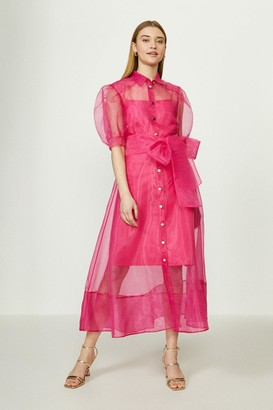 Coast Organza Puff Sleeve Dress