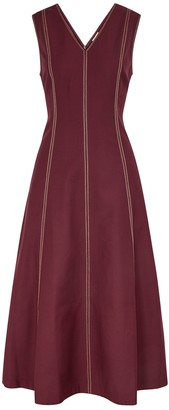 BODICE Burgundy panelled midi dress