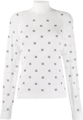Fendi Karligraphy motif high collar pullover