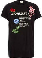 River Island Womens Black 'aujourd'hui' print applique T-shirt