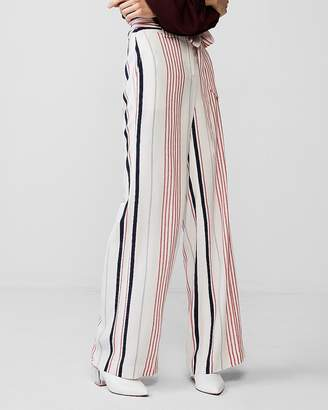 Express High Waisted Striped Sash Tie Wide Leg Dress Pant