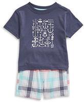 Nautica Nautical Graphic T-Shirt and Plaid Short Set