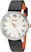 HUGO BOSS Men's 1550035 Casual 40mm/ 3h/ Ss Case/ Dial/ Black Smooth Leather Strap Watch