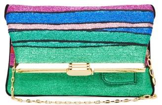 BIENEN-DAVIS Pm Rainbow-striped Lurex Clutch - Womens - Multi