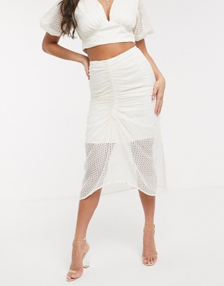 Significant Other malia broderie midi skirt