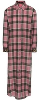 Etro Embroidered Wool-blend Check Shirt Dress