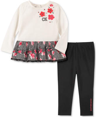 Calvin Klein Baby Girls 2-Pc. Peplum Tunic & Leggings Set