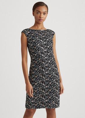 Ralph Lauren Embroidered Cap-Sleeve Dress