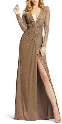 Mac Duggal Twist Front Long Sleeve Metallic Gown