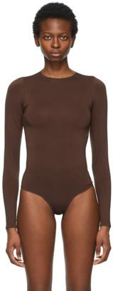 SKIMS Brown Essential Thong Long Sleeve Bodysuit