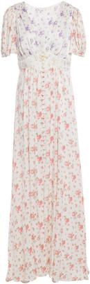 LoveShackFancy Stacy Gathered Floral-print Silk-charmeuse Maxi Dress