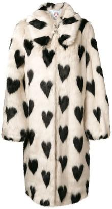 Shrimps Heart Print Fur Coat