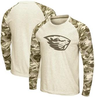 Colosseum Men's Oatmeal Oregon State Beavers OHT Military Appreciation Desert Camo Raglan Long Sleeve T-Shirt