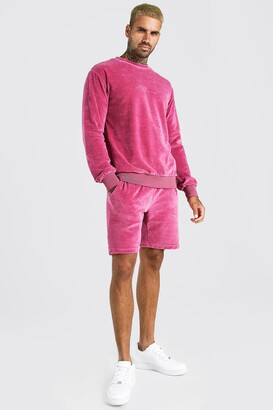 boohoo Mens Pink MAN Signature Velour jumper Short Tracksuit, Pink