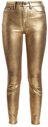 7 For All Mankind High-Rise Metallic Ankle Jeans