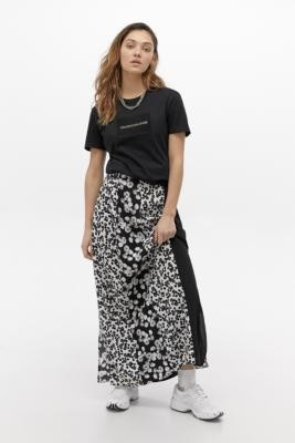 Calvin Klein Jeans Floral Panelled Maxi Skirt - Black XS at Urban Outfitters
