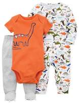 Carter's 3-Piece Dinosaur Sleep & Play Footie, Bodysuit, and Pant Set in Orange