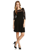 Karen Kane Lace-Yoke Fit-and-Flare Dress
