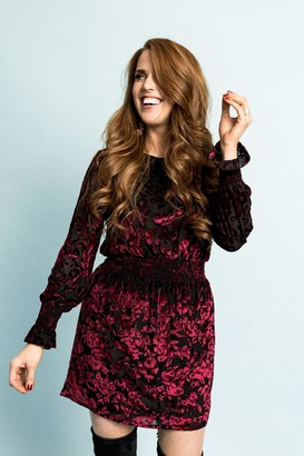 Gibson Flocked Velvet Long Sleeve Date Dress