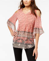 Style&Co. Style & Co Petite Printed Cold-Shoulder Top, Created for Macy's