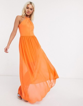 French Connection twist halter maxi dress