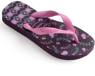Havaianas Girls Flores Flip Flop - Purple