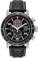 Citizen Eco-Drive Men's Chronograph Black Leather Strap Watch 44mm
