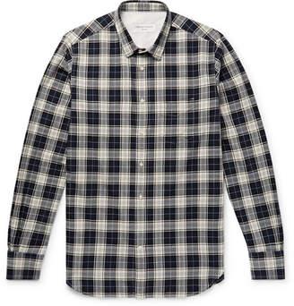 Officine Generale Checked Herringbone Cotton Shirt