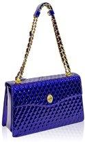 Valentino Orlandi Italian Designer Cobalt Blue Chanel Leather Purse Chain Bag