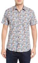 Jared Lang Men's Trim Fit Floral Sport Shirt