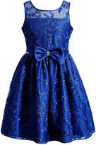 Sweet Heart Rose Illusion-Neck Embroidered Dress, Big Girls