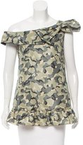 RED Valentino Camouflage One-Shoulder Top