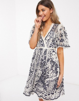 Needle & Thread exclusive plunge embroidered mini dress in monochrome