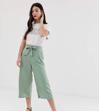 New Look Petite tie waist crop trousers in green