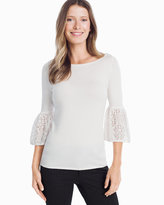 White House Black Market 3/4-Sleeve Lace Bell Sleeve Sweater