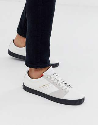 Emporio Armani Opatija textured sole leather trainers in off white