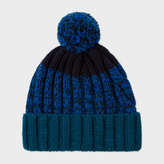 Paul Smith Men's Navy Lambswool Twisted-Yarn Cable Knit Bobble Hat