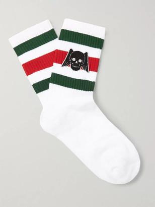 Gucci Appliqued Striped Stretch Cotton-Blend Socks