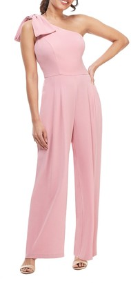 Gal Meets Glam Sylvia One Shoulder Bow Jumpsuit